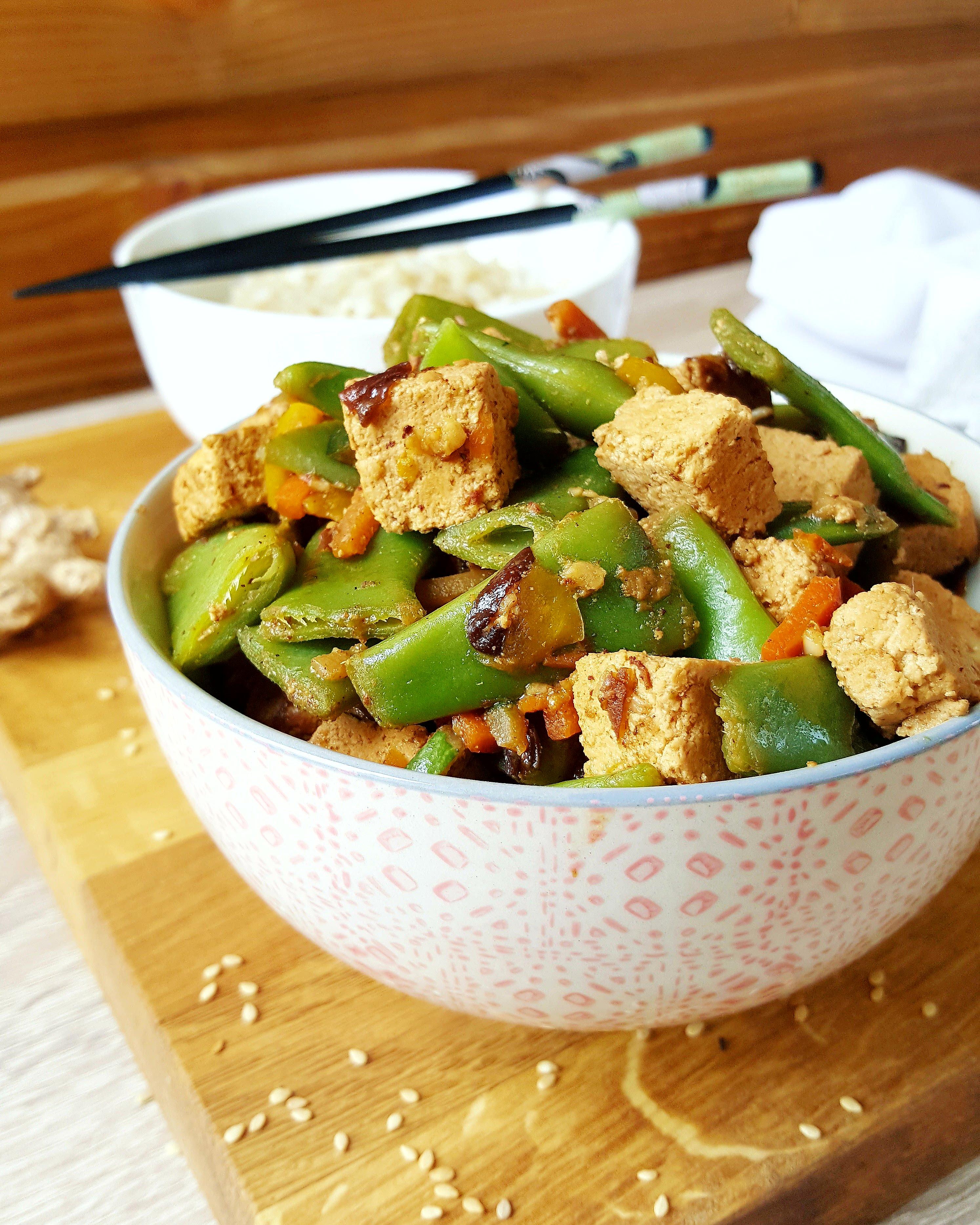 Tofu marin au soja miel s same gingembre et ses for Cuisine ta ligne